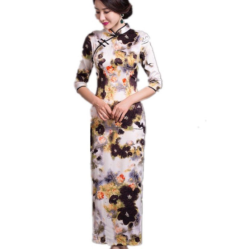 Free shipping Floral print chinese dress Faux silk cheongsam dress vintage Qipao chinese style dress vistido de festa 277Одежда и ак�е��уары<br><br><br>Aliexpress