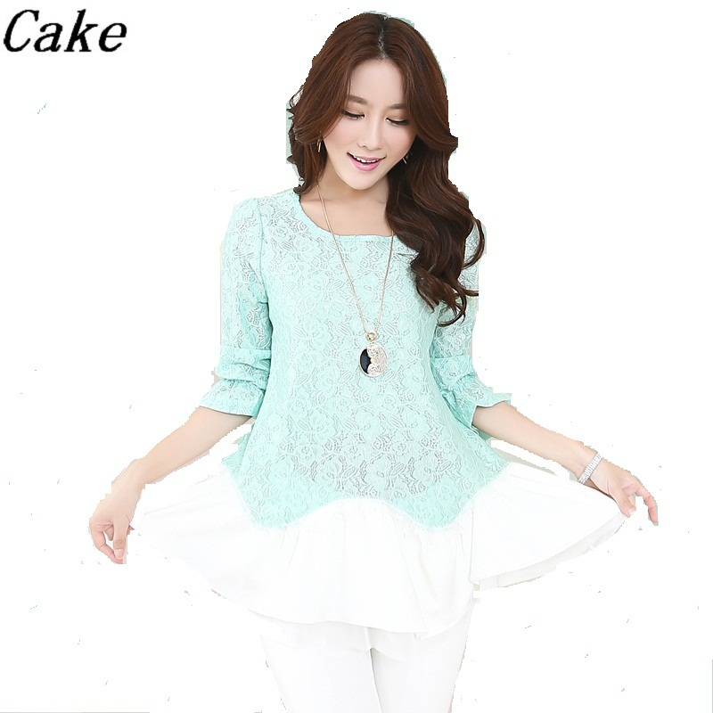 summer style 2015 new arrival plus size women clothing ladies thin lace shirt green white contrast color clothes set wholesale(China (Mainland))