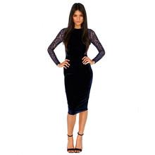 2015 New Fashion Women Winter Sexy Dress Long Sleeve Blue Velvet Lace Dresses Patchwork Slim Bodycon Bandage Dress KH853018(China (Mainland))