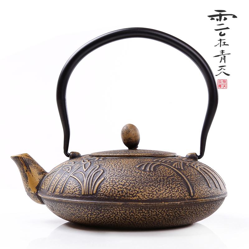 Japanese old cast iron tea pot Joss stick iron pot cast iron pot embossed kung fu