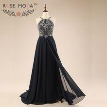 Stunning Backless Black Floor Length Evening Dresses Heavily Beaded Formal Dress Vestido de Festa Real Photos(China (Mainland))