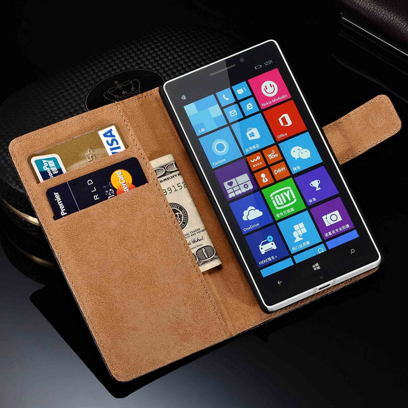 Genuine Leather Wallet Stand Case for Nokia Lumia 930 Luxury Leather Cover with Card Holders and Bill Site