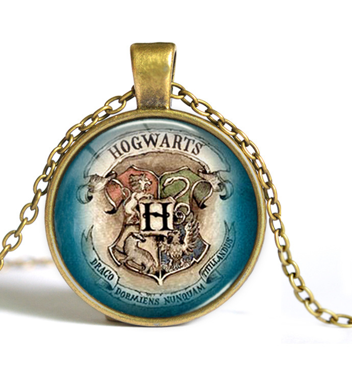 8 Styles Newest Harry Potter Necklace Hogwarts Crest Pendant Statement Geek Gift For Women Men Link Chain Glass Cabochon Jewelry(China (Mainland))