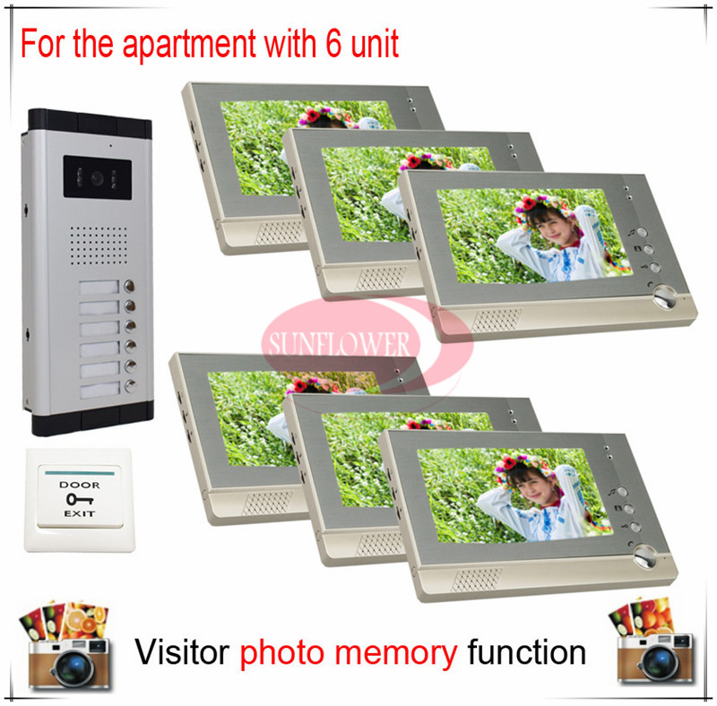 Six 6 Units Apartment Building Video Intercom Video Door Bell ll Visitor Photo Memory ( Also support SD card photo storage)(China (Mainland))