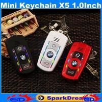 Mini Keychain X5 Phone With Bluetooth MP3 Dual Sim Card LED Belt light Women Cute Lady 1.0 inch Screen Cell Phone