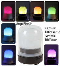 Portable usb air humidifier 7 Color Change LED Transparent Glass Cover Mute ultrasonic mist generator electric aroma diffuser(China (Mainland))