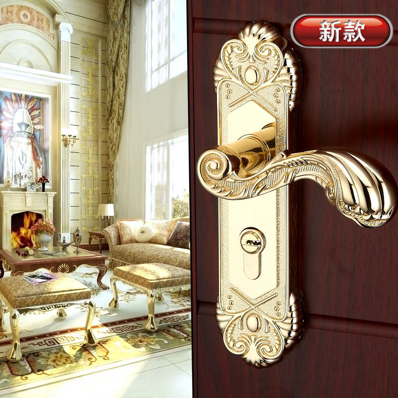 Gold Plated Luxury Door Hardware Knobs Wooden Door Handles Lock Bedroom Pulls