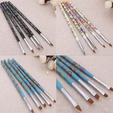 5pcs Nail Art UV Gel Acrylic Brush Painting Pen Wood Manicure Nail Design Tool(China (Mainland))