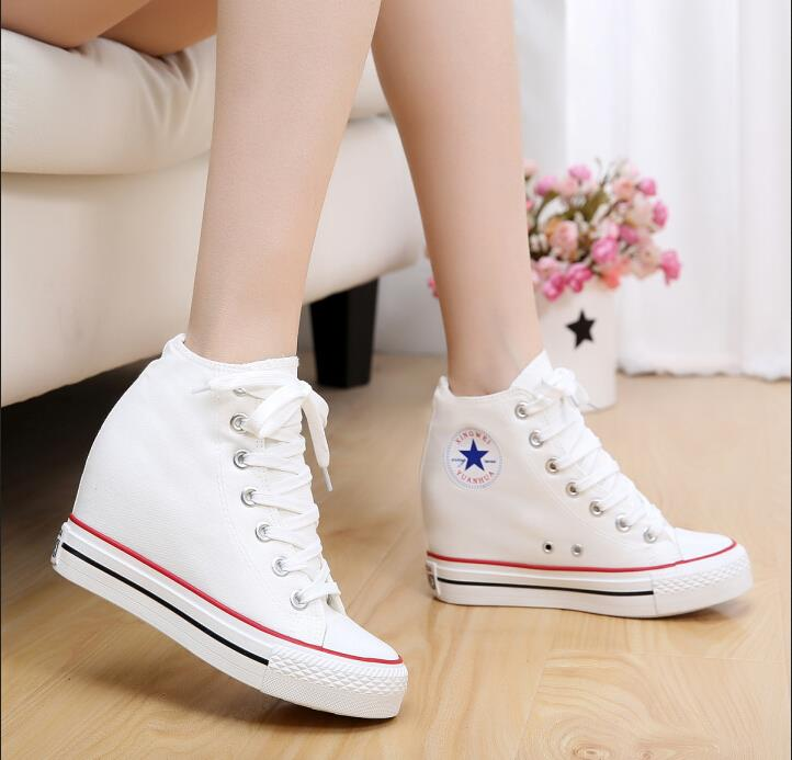 Classic black and white high-top canvas shoes,  Wedges High Heels thick soled shoes 8CM increased muffin casual shoes<br><br>Aliexpress