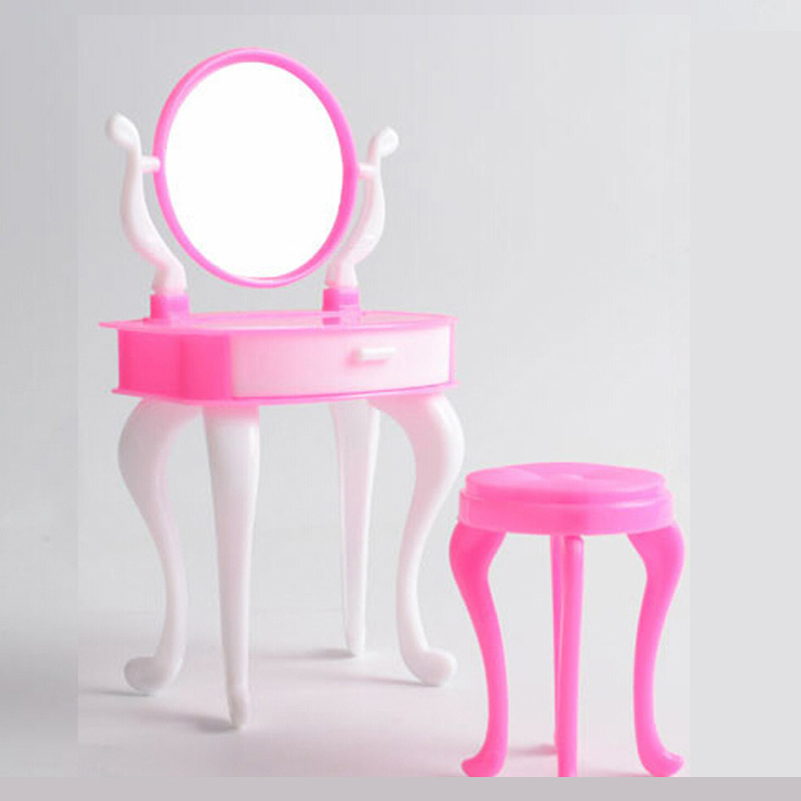 Doll Furniture Doll Accessories For Barbi Furniture Dresser Make-Up Mirror Chair Set Dressing Table Bedroom Dollhouse Kids Toys(China (Mainland))