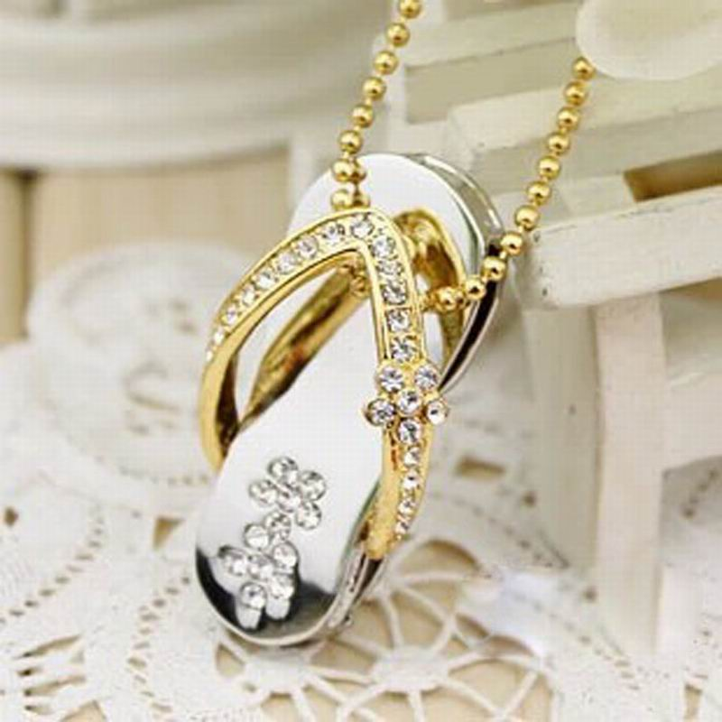 Hot Sale Crystal Shoes Necklace 4GB 8GB 16GB 32GB USB 2.0 Flash Memory Stick Pen Drive U Disk LU1090(China (Mainland))