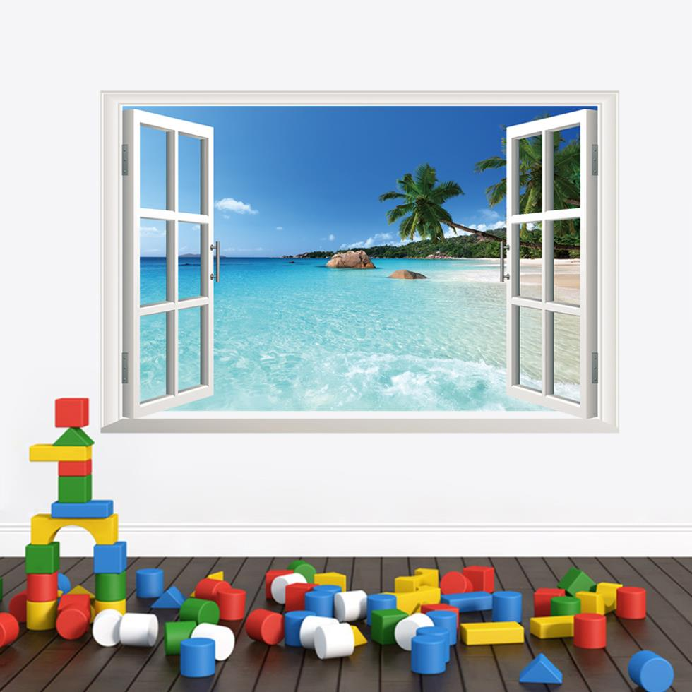 Coastal scenery Coconut trees Ocean beach window wall stickers living room home decor ZY1430 % ^ - Shanghai Paradise decoration store