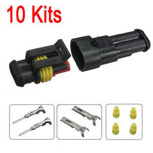 Audew 2015 New 10sets  Car Part 2 Pin Way Sealed Waterproof Electrical Wire Auto Connector Plug Set(China (Mainland))