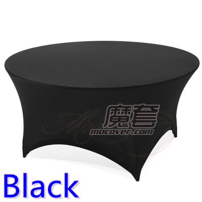 Spandex table cover Black colour round lycra stretch table cloth fit 5ft-6ft round wedding hotel banquet and party decoration(China (Mainland))