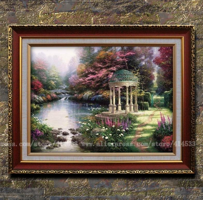 Thomas kinkade prints of oil painting the garden of prayer for Garden wall painting designs