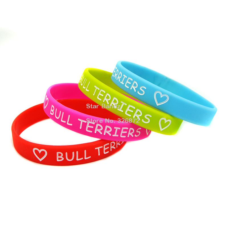 50PCS/Lot Free shipping!  Love Bull Terriers Wristband, Silicon Bracelet, Adult size, 4colours<br><br>Aliexpress