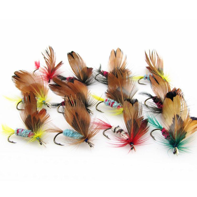 hot Best Selling 12Pcs/dozen Fishing Lures Fly fishing Hooks feather bait booK dry fly hook, Steel Hooks fishing bait 81019(China (Mainland))
