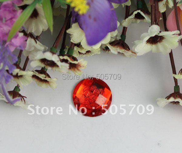 FREE SHIPPING 120PCS red flower acrylic rhinestone round flatback cabochon 20mm #22193(China (Mainland))