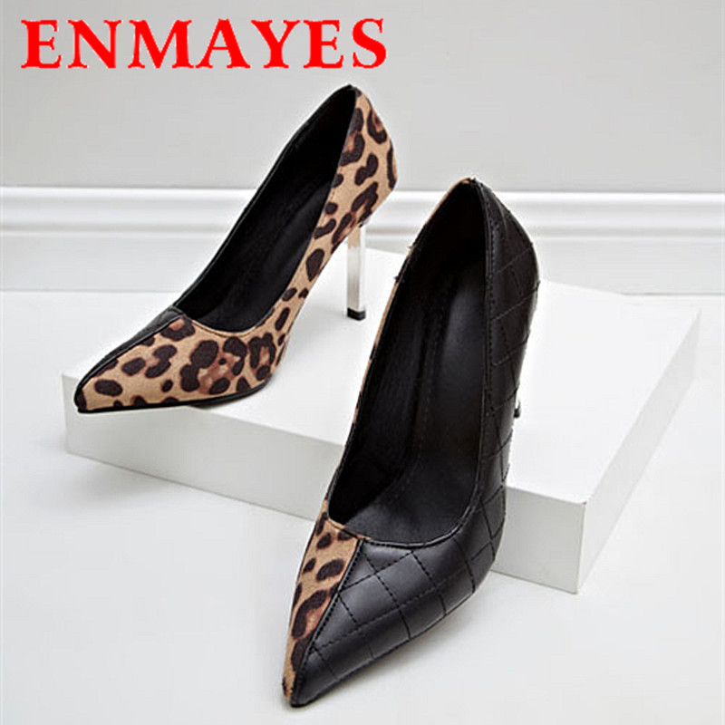 ENMAYES Women Pumps Stiletto Heel Pumps Women Pointed Toe Sexy High Heels Shoes Woman Leopard Pumps(China (Mainland))