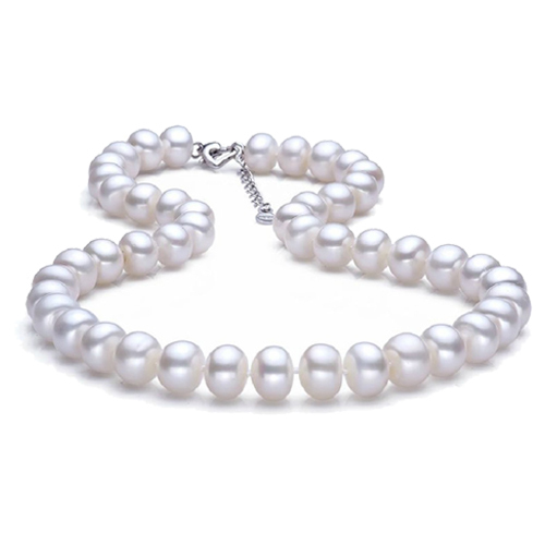 Classic 9-10mm white natural pearl neckalce 18k white gold plated silver jewelry for women gift for mother top quality 3 colors(China (Mainland))