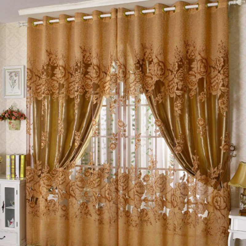 Гаджет  New Arrival Peony Pattern Pastoral Voile Curtain Window Valance European Lace Curtains Girls Bedroom Curtains NG4S None Дом и Сад