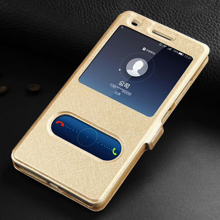 Leather Case For Huawei Honor 7 Mobile Phone With Window View High Quality Protector Flip Case