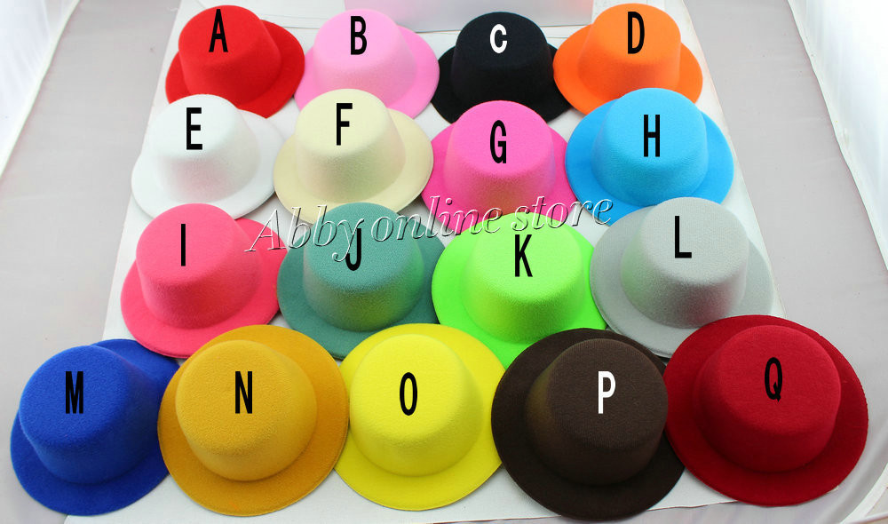 "17color 5"" Solid Felt Mini Top Hat Fascinator base Women Millinery Party Hat 50pcs/lot Free shipping(China (Mainland))"