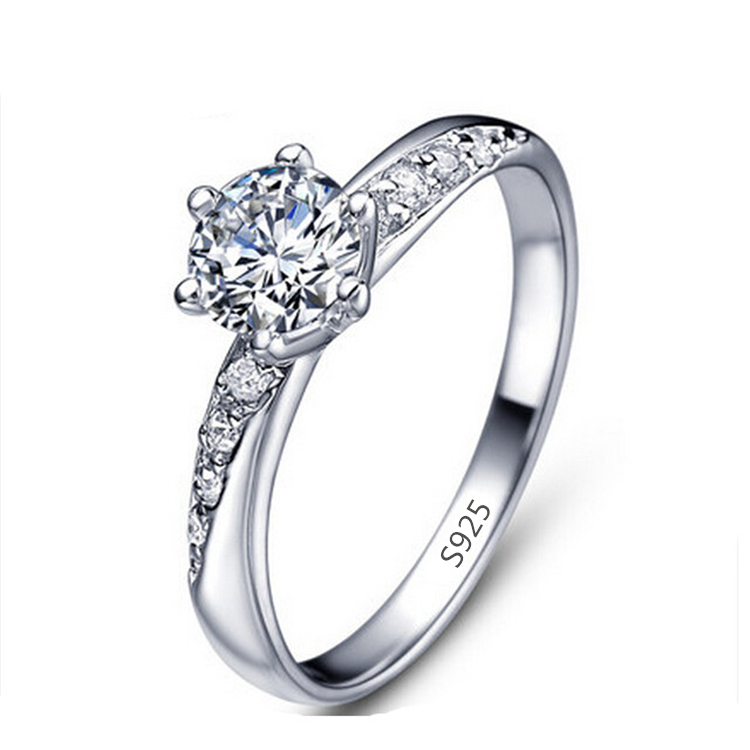 White gold plated Wedding bands engagement ring 925 sterling silver rings for women Anillos Bague bijoux argent 925 femme MSR061(China (Mainland))
