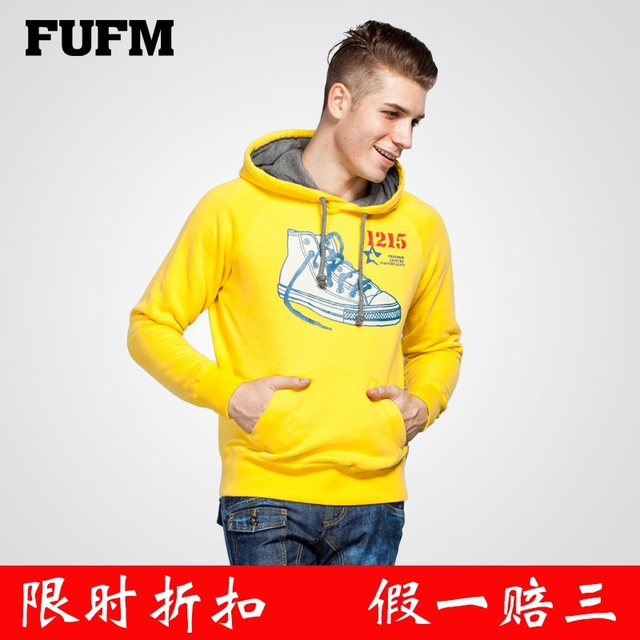 Fufm sweatshirt male 100% cotton print shoes outerwear with a hood pullover brushed shirt