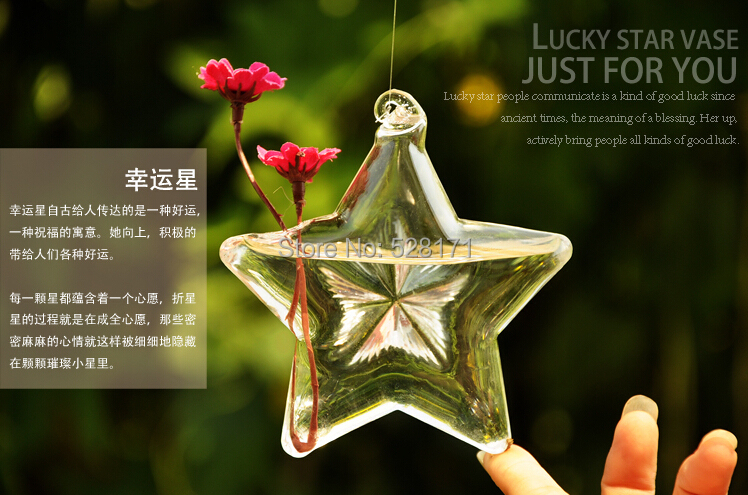 Free Shipping 4pcs/lot Lucky star Hanging glass vase, Hanging Glass Vase for Wedding Home Decoration/ Wedding Party Decoration(China (Mainland))