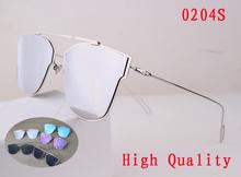 New top quality silver mirror lens 0204S sunglasses for women brand designer with logo.gafas de sol.lentes de sol.