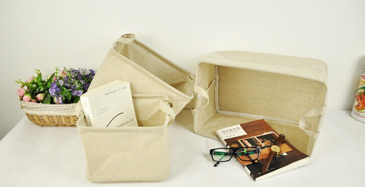 Cotton cloth bag desktop finishing debris box storage box foldable storage box CD Books(China (Mainland))