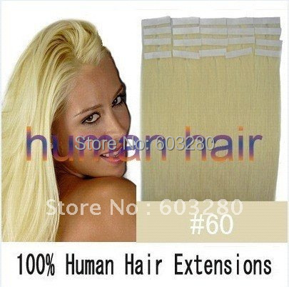 """16""""18""""20""""22""""24""""26"""" Tape in Human Hair Extensions #60 bleach blonde color 30g/40g/50g/60g/70g 20pieces/set brazilian hair(China (Mainland))"""