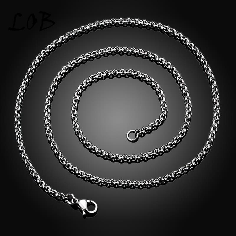 2MM 316L Stainless Steel Chain Men Jewelry Vintage Stainless Steel Chain Punk Distribution Link Chain Men Necklace(China (Mainland))