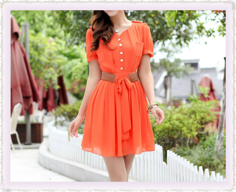2013 Summer New women Belt Fashion Chiffon Dress Women Dresses Lady's Apparel Short Sleeve + - China's largest production plant of bags store