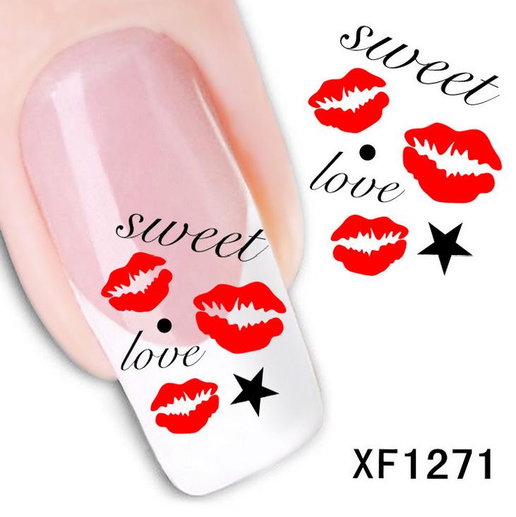 1 sheet kiss kiss sweet love nail water decals art - Stickers deco salon ...