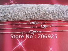 Free shipping Wholesale 100pcs 1.2mm 17inch Plated Silver ball necklace chain with Lobster Clasp  100pieces /lot(China (Mainland))