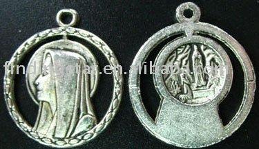 FREE SHIPPING 200pcs Tibetan silver Virgin Mary circle drops A1211
