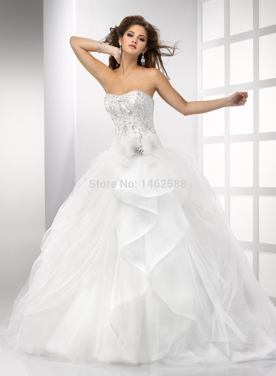 Gorgeous beaded sweetheart bodice corset organza ruffles for Sweetheart corset wedding dress