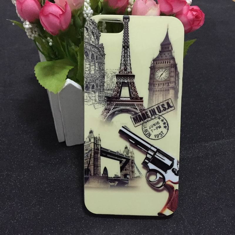 "2015 Romantic Fashion Lovely Eiffel Tower Gun TPU Soft Back Cover Phone Case For Iphone 6 4.7"" YC259(China (Mainland))"
