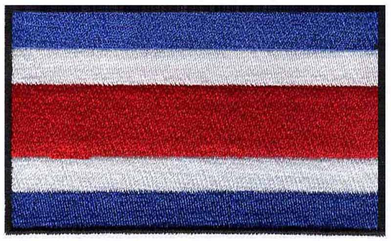 """Costa Rica iron on embroidery flag patches logos 3"""" wide free shipping/parches velcro/brand patch/sticker on clothes(China (Mainland))"""