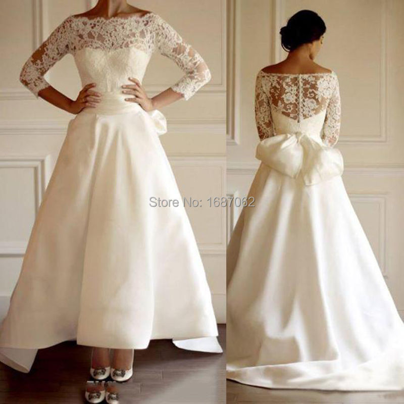 Simple beach wedding dresses bateau hi lo satin lace off for Hi lo wedding dress