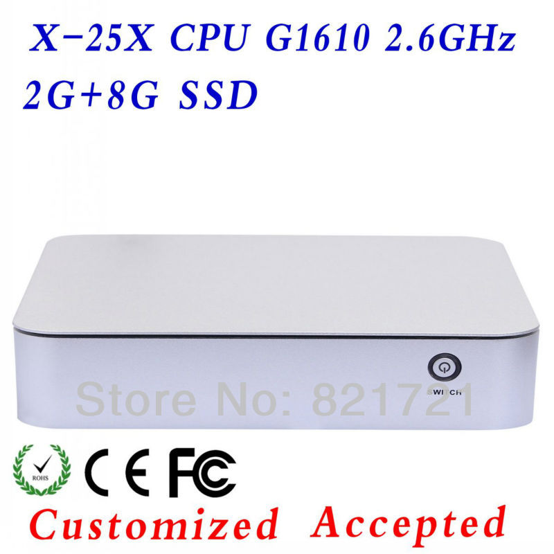 mini desktop computer Intel G1610 2g ram 8g ssd thin client mini fan computer networking With high-powered CPU and Graphics Card(China (Mainland))