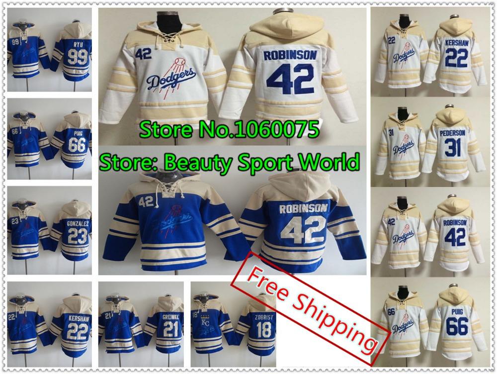 New Los Angeles Dodgers hoodie Jersey 42 Jackie Robinson Jersey 23 Adrian Gonzalez Puig Ethier baseball Hoodies Sweatshirt(China (Mainland))