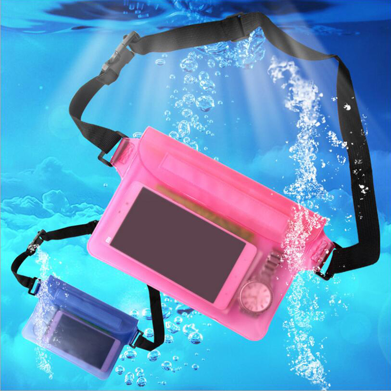 Universal Sealing Waterproof Pouch For iPod Cell Phone MP3 Wallet Camping Boating Hiking OutDoor Waist Buckle Soft PVC Bag Case(China (Mainland))