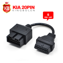5PCS/LOT Kia 20Pin to 16Pin OBD1 to OBD2 OBDll Connector Cable Kia 20pin Car Diagnostic Tool Cable(China (Mainland))