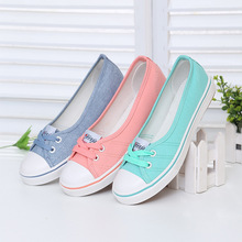 Spring and summer light canvas shoes, women shoes shoes slip-on Korean tide students set foot pedal flat shoes(China (Mainland))