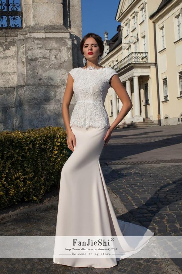2015 New Elegant Vestido De Noiva Scoop Neckline Appliques Cap Sleeve Backless Custom Made Long Mermaid Lace Wedding Dresses - Suzhou FanJieShi Dress Co., Ltd. store