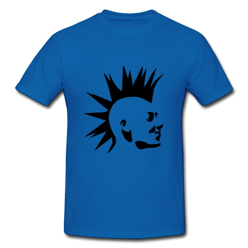 Tshirt Mans Cotton Punk Head with mohican hair cut Design Your Own Fashion Style Tshirts for Mans(China (Mainland))