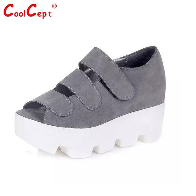 Женщины новый сдобы каблуки сандалии женщина мода крюк & петля туфли на каблуках ...